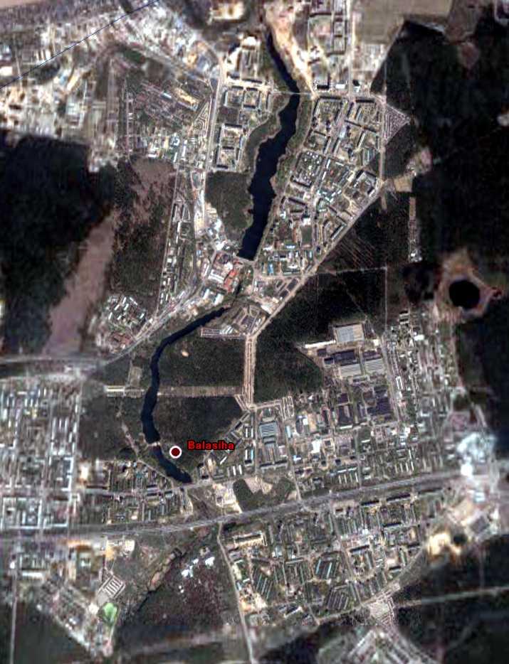 Снимок города Балашиха с космического спутника